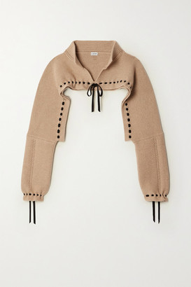 Loewe Cropped Tie-detailed Wool And Cashmere-blend Sweater - Beige