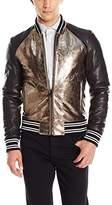 Just Cavalli Men's Metallic Leather Bomber Jacket