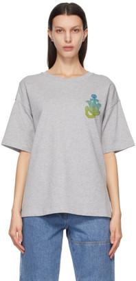 MONCLER GENIUS 1 Moncler JW Anderson Grey Boxy Logo T-Shirt