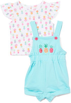 Baby Essentials Girls' Rompers Aqua - White Pineapple Angel-Sleeve Top & Blue Pineapple Shortalls - Infant