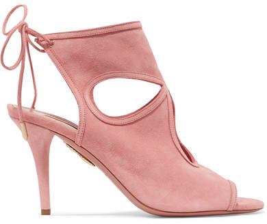 Aquazzura Sexy Thing Cutout Suede Sandals - Baby pink