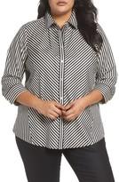 Foxcroft Plus Size Women's Fallon Satin Stripe Cotton Shirt