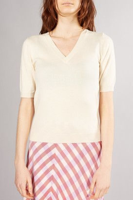 Selected BEIGE PEYTON 2 4 V NECK KNIT - XSMALL