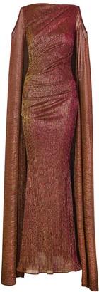 Talbot Runhof Bonoso metallic-weave plisse gown