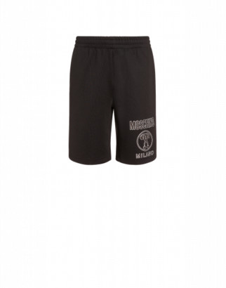 Moschino Technical Fleece Shorts With Double Question Mark Man Black Size 46 It - (30 Us)