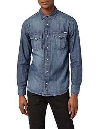 Jack and Jones Vintage Men's JJVSHERIDAN Shirt L/S Western NOOS Casual (Dark Blue Denim Fit:Slim), XL