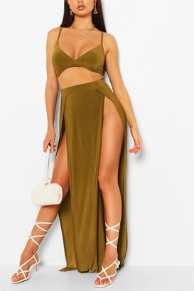 boohoo Slinky Bralet & Split Maxi Skirt Co-Ord Set