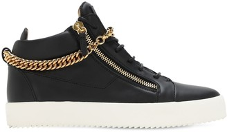 Giuseppe Zanotti May London Leather Sneakers W/ Chain
