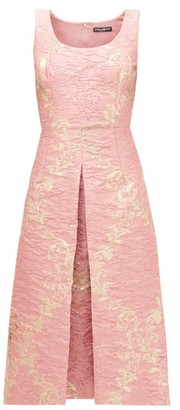 Dolce & Gabbana Metallic Floral-brocade Midi Dress - Pink Multi