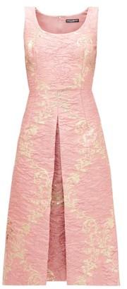 Dolce & Gabbana Metallic Floral-brocade Midi Dress - Pink Multi