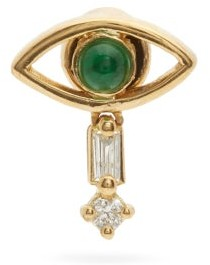 Ileana Makri Evil Eye Diamond, Emerald & 18kt Gold Earring - Green Gold