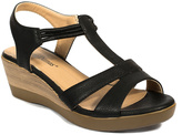 Pierre Dumas Black Wide-Strap Daphne Wedge