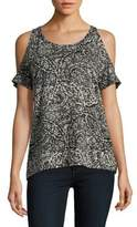 Lucky Brand Printed Cold-Shoulder Top