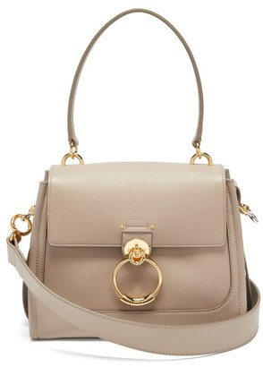 Chloé Tess Small Grained-leather Crossbody Bag - Grey