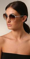 Luella Sunglasses Oversized White Wire Sunglasses