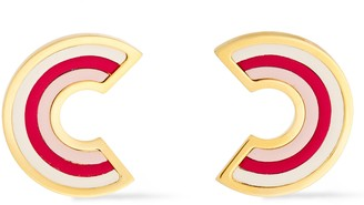 Marni Gold-tone Leather Earrings