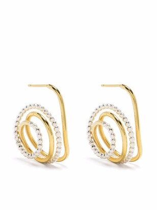 BONVO Two-Tone Twisted Loop Earrings