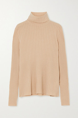 Allude Ribbed Cashmere Turtleneck Sweater - Tan
