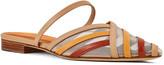 Malone Souliers Paulina Colorblock Stripe Leather/Mesh Flat Mules