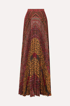 Etro Printed Pleated Crepe De Chine Maxi Skirt - Burgundy