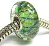 Queenberry Sterling Silver Flower Green Gold Wave Stripes Glass Bead For European Chamilia Biagi Troll Pandora Charm Bracelets