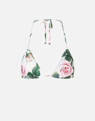 Dolce & Gabbana Triangle Bikini Top With Tropical Rose Print