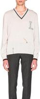 Lanvin Open Stitch Stripe Details V Neck Sweater