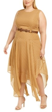 Calvin Klein Plus Size Belted Printed Handkerchief-Hem Dress