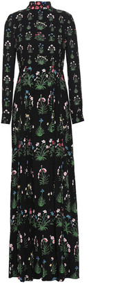 Valentino Pleated Floral-print Silk Crepe De Chine Gown