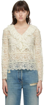 Gucci Off-White Lace Ruffle Blouse