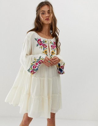 Free People put a spell on you mini dress in white