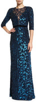 Jenny Packham 3/4-Sleeve Sequined Gown, Petrol