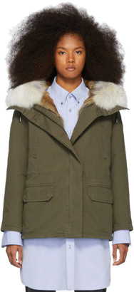 Yves Salomon Army Green Down and Fur Cotton Short Parka