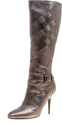 Burberry Metallic Grey Textured Fabric and Leather Buckle Detail Calf Boots Size 37