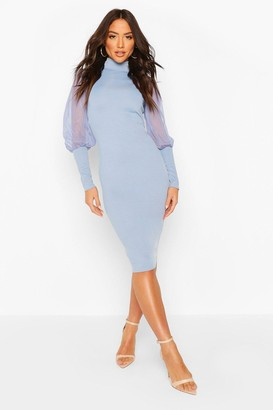 boohoo roll/polo neck Rib Dress With Mesh Sleeves