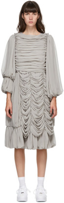 Comme des Garcons Grey Georgette Ruffle Midi Dress
