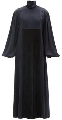Roksanda Zina High-neck Fringed Silk-satin Maxi Dress - Navy