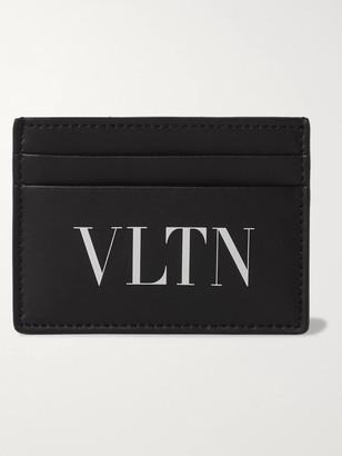 Valentino Logo-Print Leather Cardholder