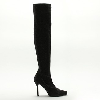 Daniel Arla Black Metallic Stretch Over The Knee Boots