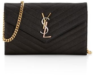 Saint Laurent Medium Monogram Matelasse Leather Wallet-On-Chain