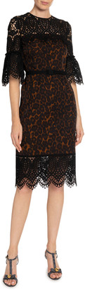 Erdem Kiya Leopard-Print Lace-Illusion Sheath Dress