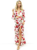 West Coast Wardrobe Ladylike Floral Romper in Red Rose Print