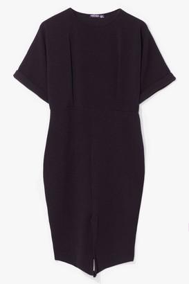 Nasty Gal Womens Thrilled to Splits Plus Midi Dress - Black - 16, Black