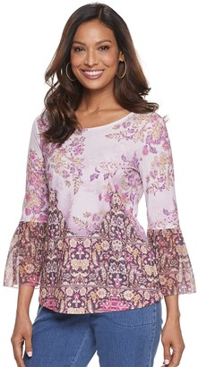 Croft & Barrow Petite Sublimated Bell-Sleeve Top