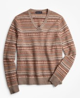 Brooks Brothers Lambswool Fair Isle V-Neck Sweater