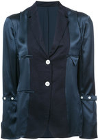 Thom Browne Reconstructed Jacket Blouse In Navy Silk Charmeuse