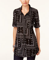 Style&Co. Style & Co Style & Co Petite Printed Peplum Shirt, Created for Macy's