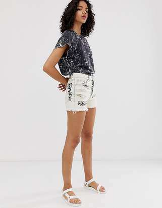 Cheap Monday organic cotton relaxed shorts with graphic-White