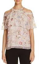 Elie Tahari Genevieve Cold-Shoulder Floral Print Silk Blouse