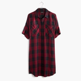 Madewell Courier Shirtdress in Burgundy Buffalo Check